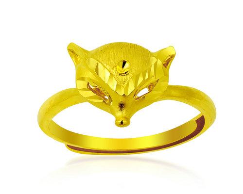惠艺珠宝狐狸款式千足金戒指