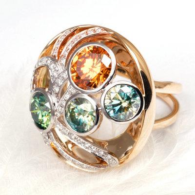 莫桑石/指尖的星空///福泰珠宝莫桑石14k金戒指