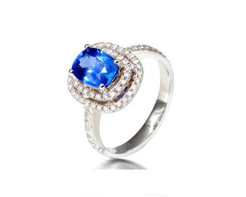 福泰珠宝18K金高贵蓝宝石戒指 多图