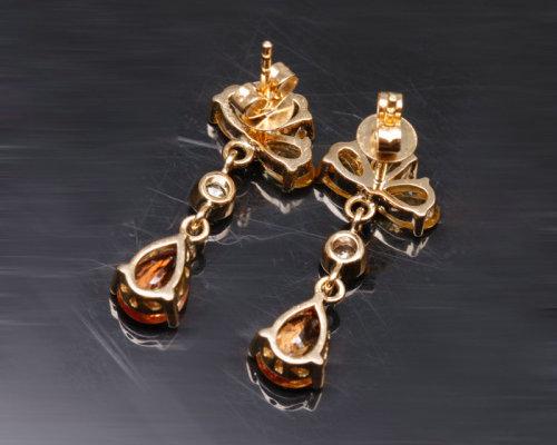 福泰珠宝18K金黄蓝宝石耳坠(图)