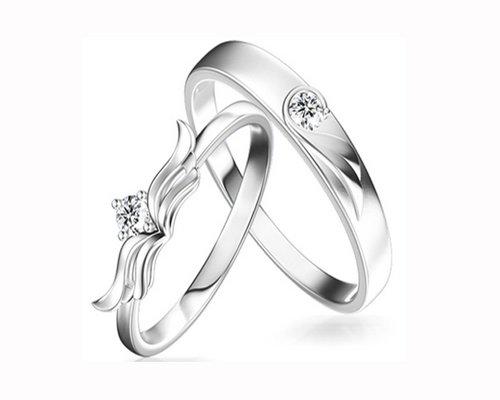 玛丽莱珠宝天使之翼18k白金钻石对戒(图)