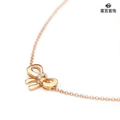 菜百首饰18k金镂空钻石蝴蝶结套链(图)